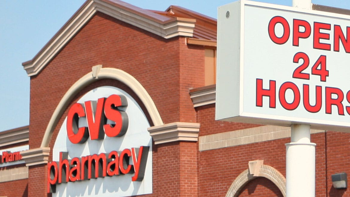 CVS Pharmacy and Open 24 Hours sign