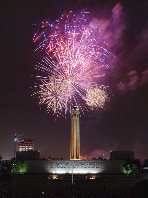 Fireworks over the Liberty Memorial.