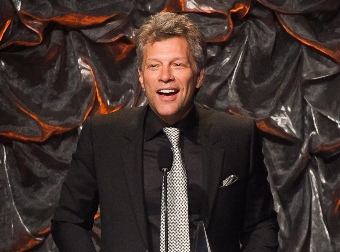 In this file photo, Jon Bon Jovi attends the Songwriters Hall of Fame Awards in New York. Bon Jovi has joined forces with Paul McCartney, Sheryl Crow, Fergie and others to record