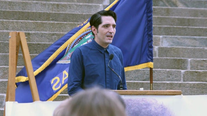 Actor David Dastmalchian spoke Friday outside the Statehouse at a rally highlighting mental health and addiction treatment options in Kansas. (Photo: Susie Fagan   Heartland Health Monitor)