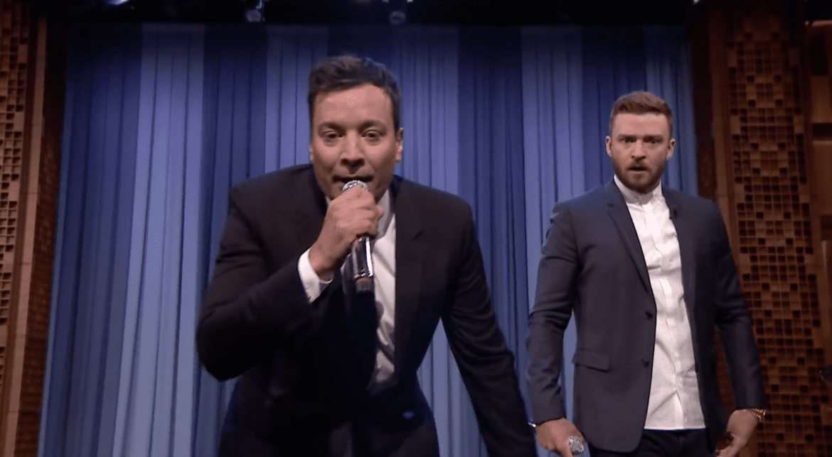 Jimmy Fallon and Justin Timberlake delve into The History of Rap Part 6 during The Tonight Show (Credit: YouTube)