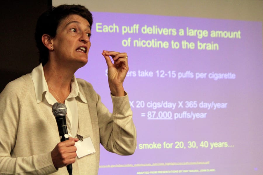 Kim Richter, who runs the tobacco cessation program at the University of Kansas Medical Center in Kansas City, Kansas, says her average patient has been smoking for 29 years. (Photo: Dave Ranney | Heartland Health Monitor)