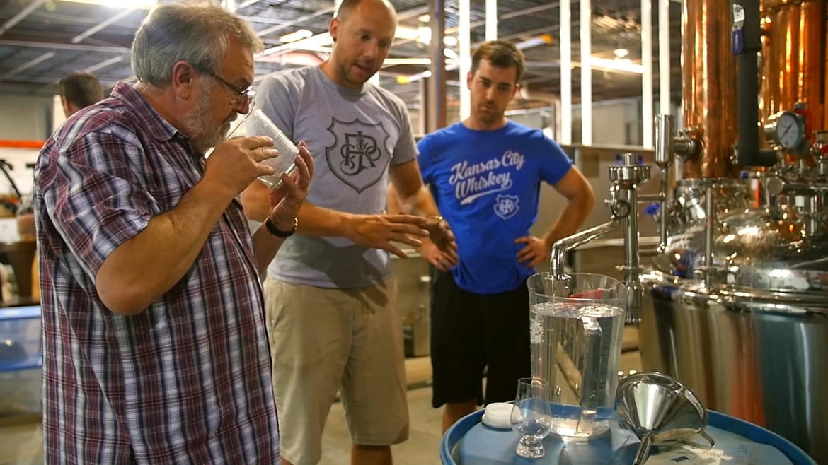 Tom Nichol at J. Rieger & Co. working on the new batch of gin.