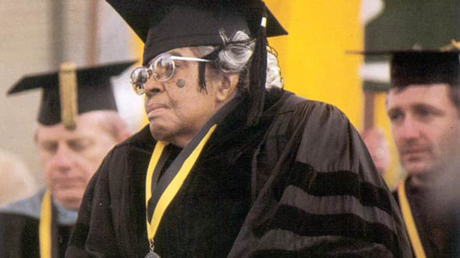 Lucile Bluford receiving an honorary MU degree
