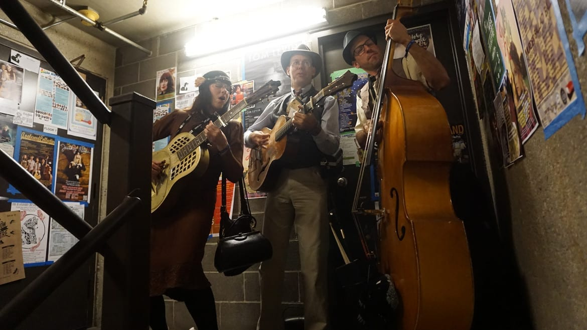 The music life is about making things work. Here, musicians warm up in a stairwell during the opening night of Folk Alliance International at the Westin Crown Center. (Photo: Sarah Bradshaw | The Bridge)