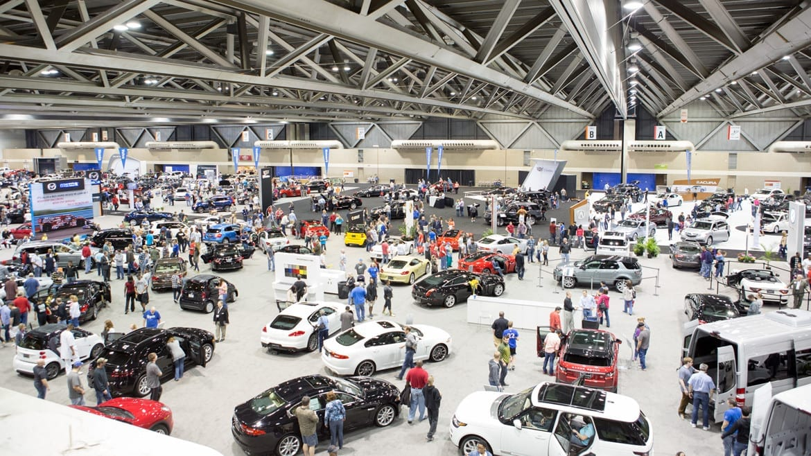 Cars in showroom for auto show