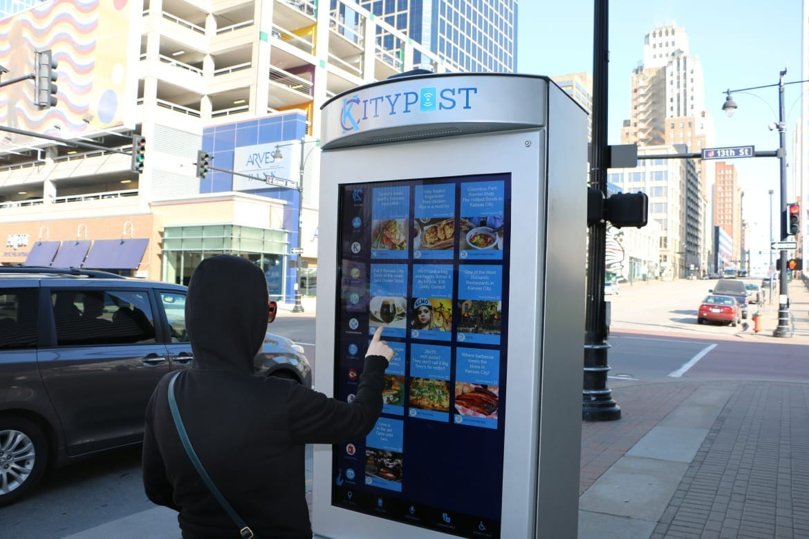 A person using a smart kiosk