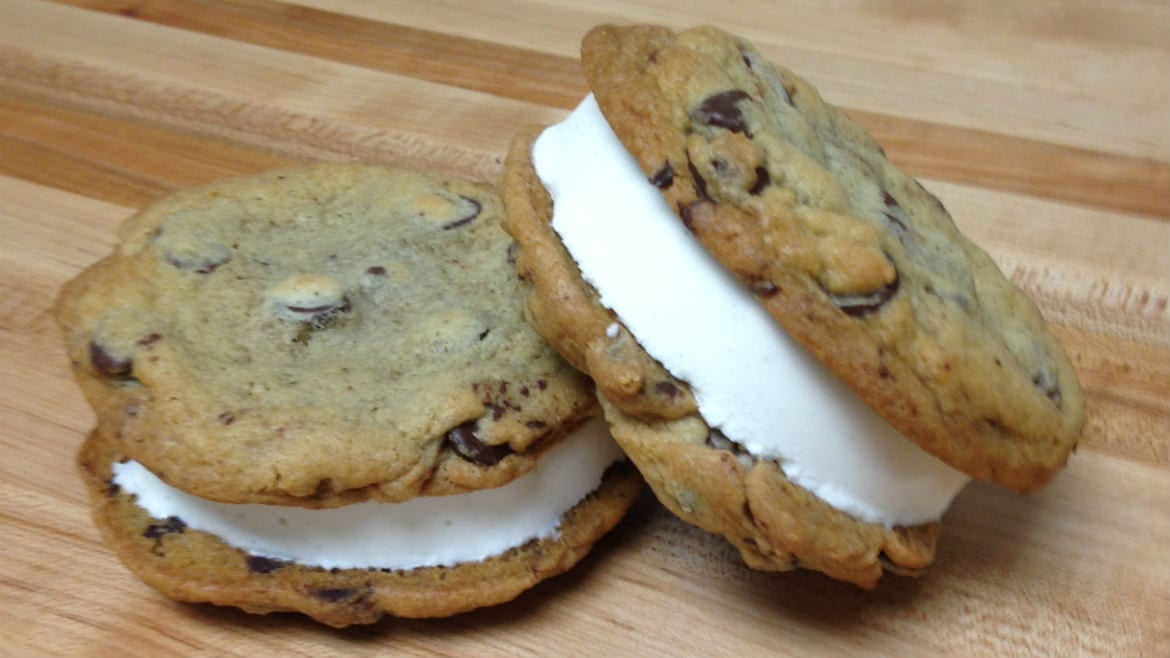 A pair of ice cream sandwiches.