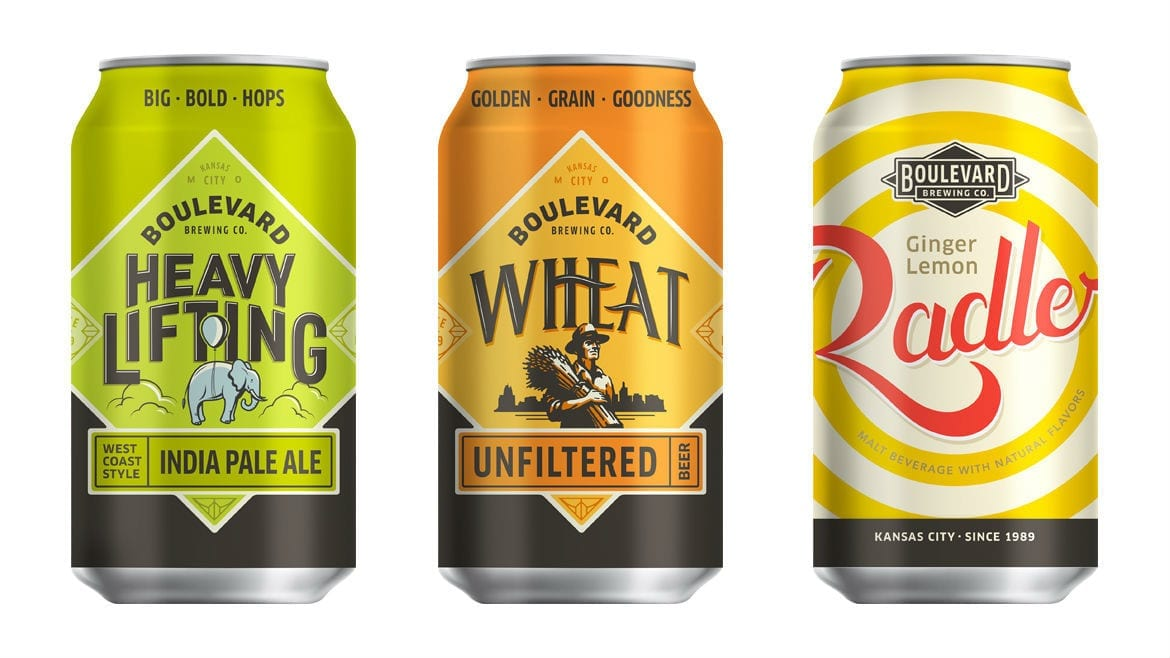 Three canned beers from Boulevard Brewing Company.