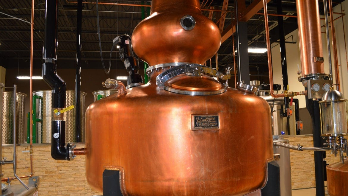 'Darby O'Still,' the focal point of North Kansas City's Restless Spirits distillery, is a 500-gallon, onion-shaped, copper pot still specifically designed to produce Irish whiskey. (Photo: Jonathan Bender | Flatland)