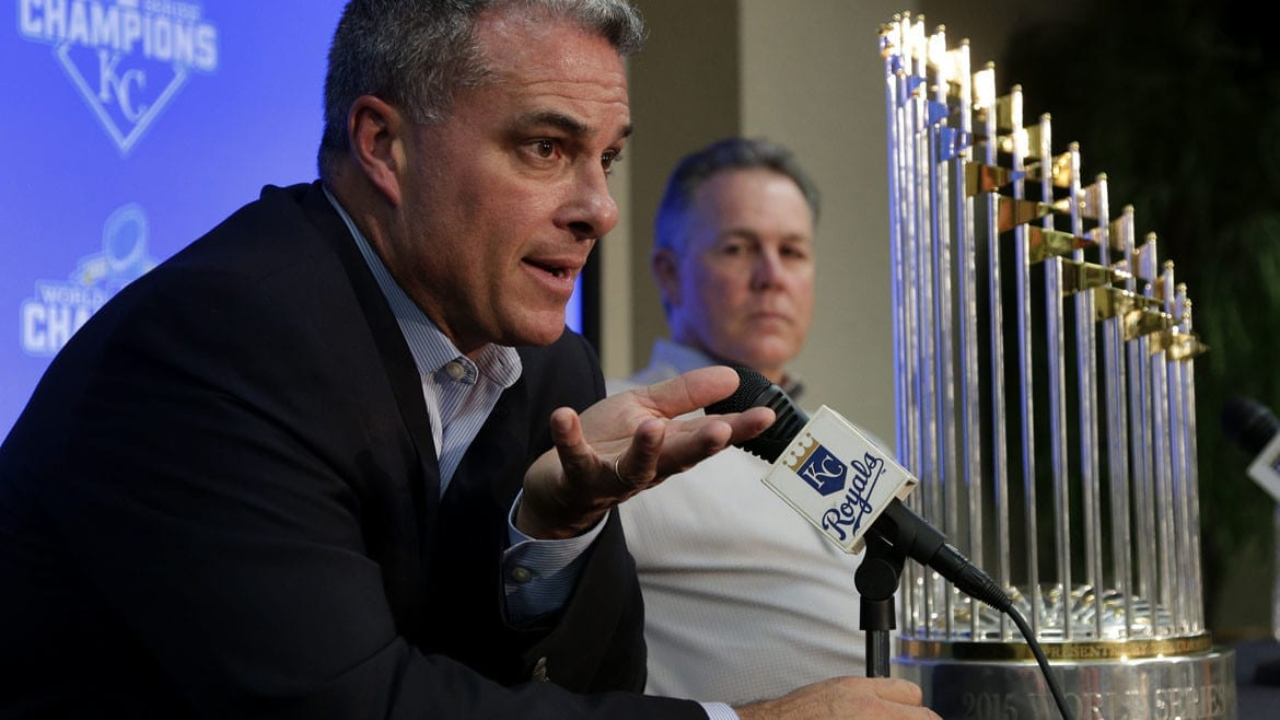 Kansas City Royals general manager Dayton Moore and manager Ned Yost