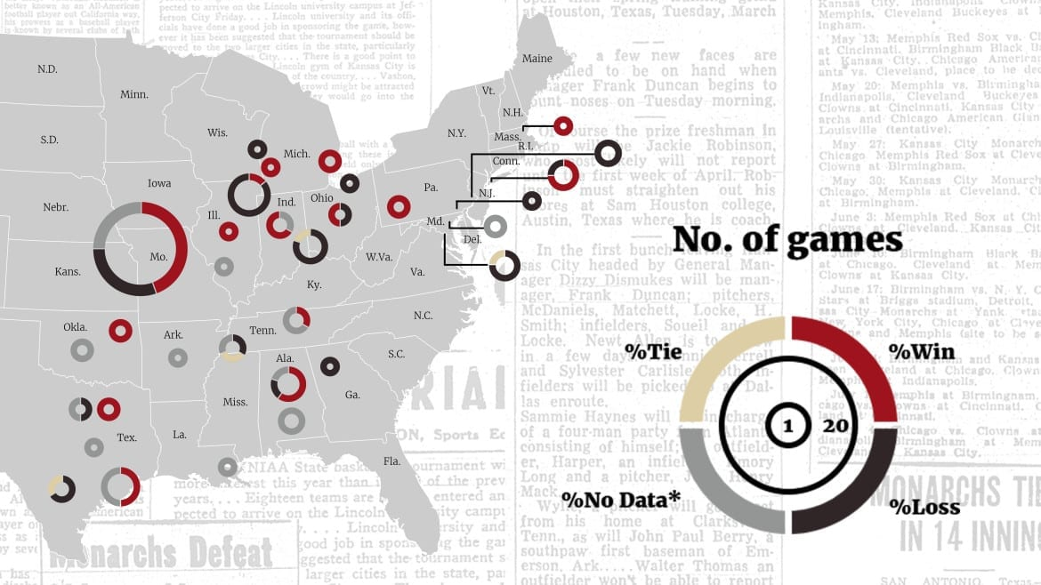 A map showing Jacki Robinson's year with the Monarchs