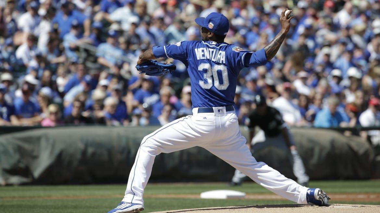 Kansas City Royals' Yordano Ventura throws during a spring training baseball game