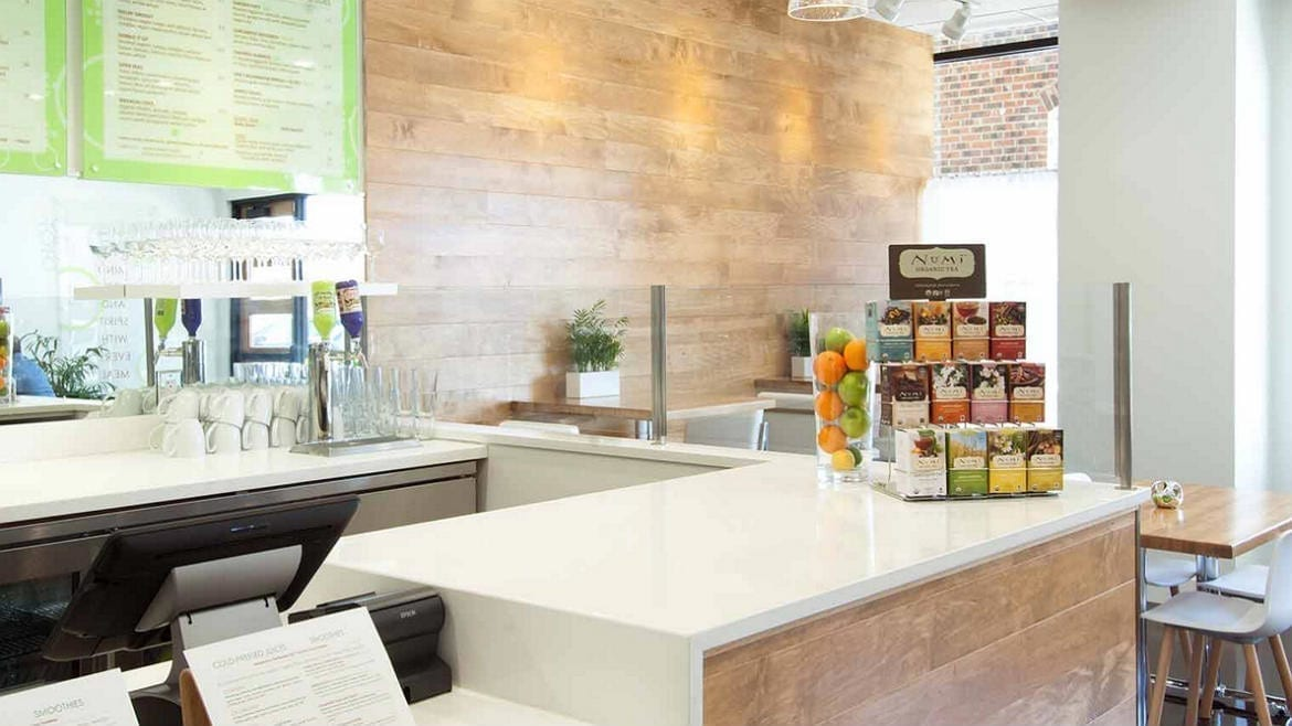 A shot of the counter at Enjoy Pure Food + Drink.