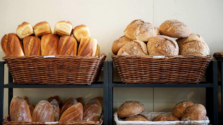 A shot of bread in bins.