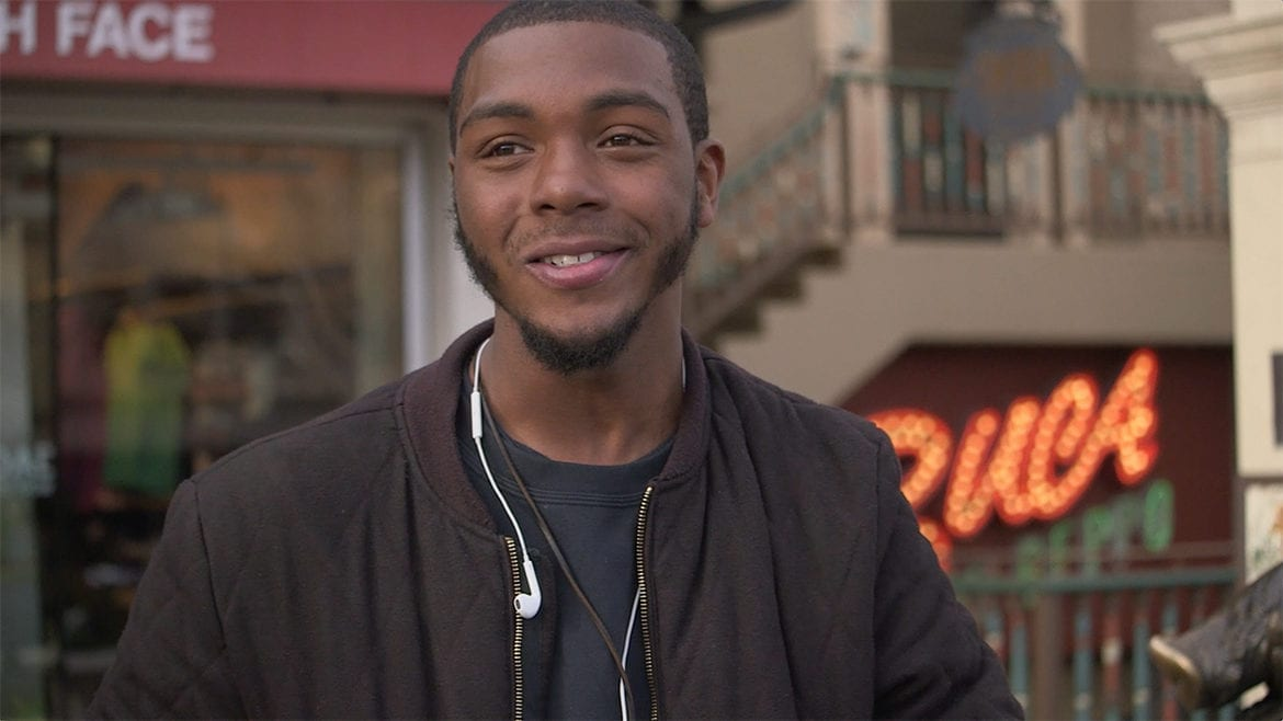 Young African American man with headphones