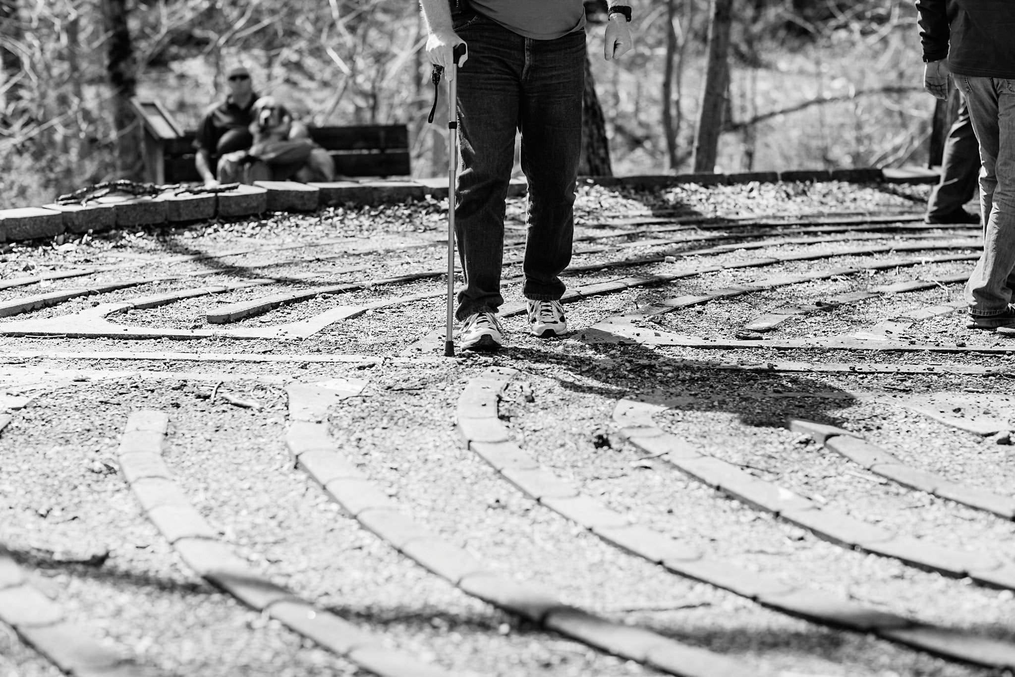 A man walking in a labyrinth