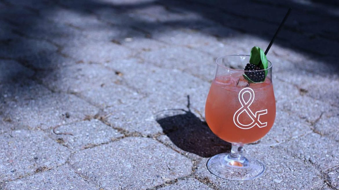 A cocktail on pavement