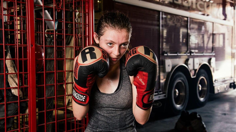 A teenage boxer