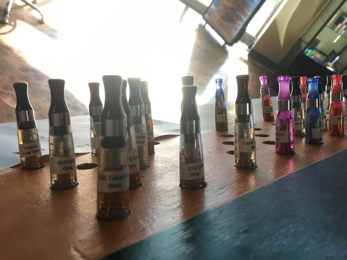 A collection of e-cigarette atomizers used for free samples