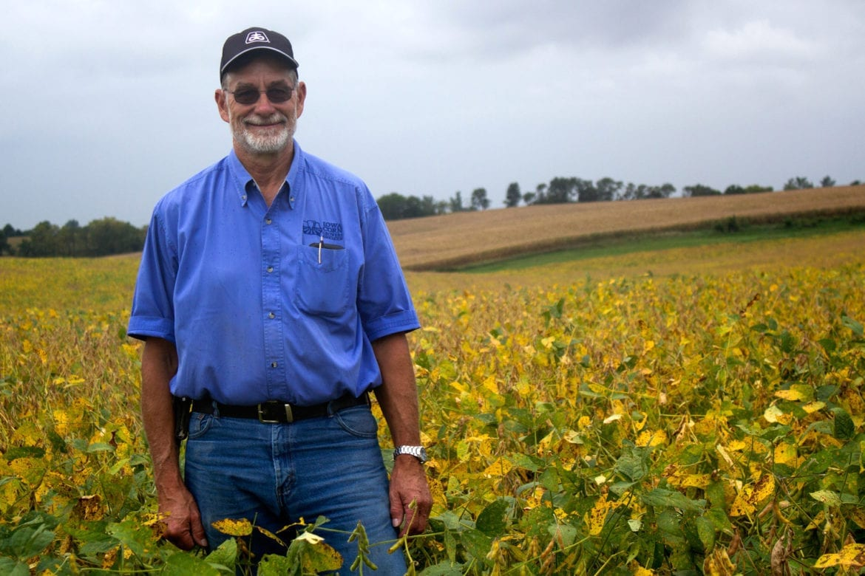 A man in a field.