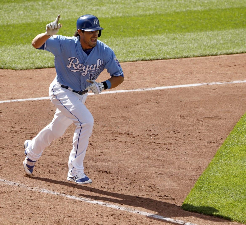 Baseball player running around the bases
