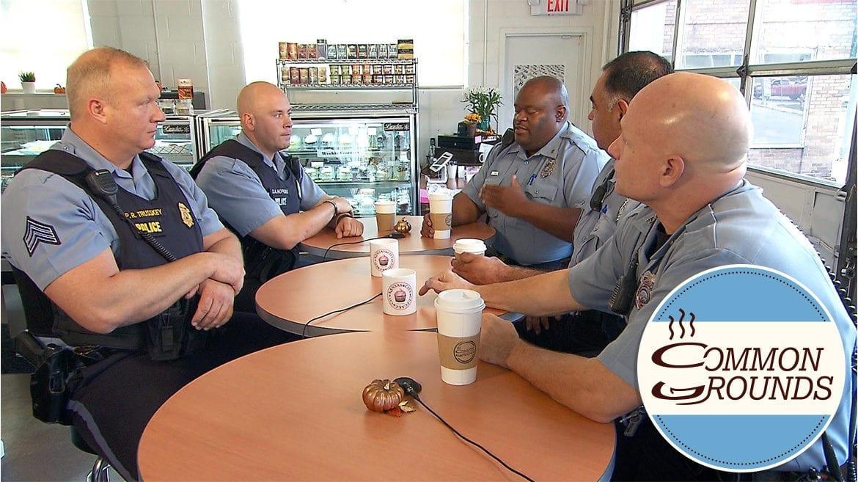 Kansas City, Kansas police officers around a table