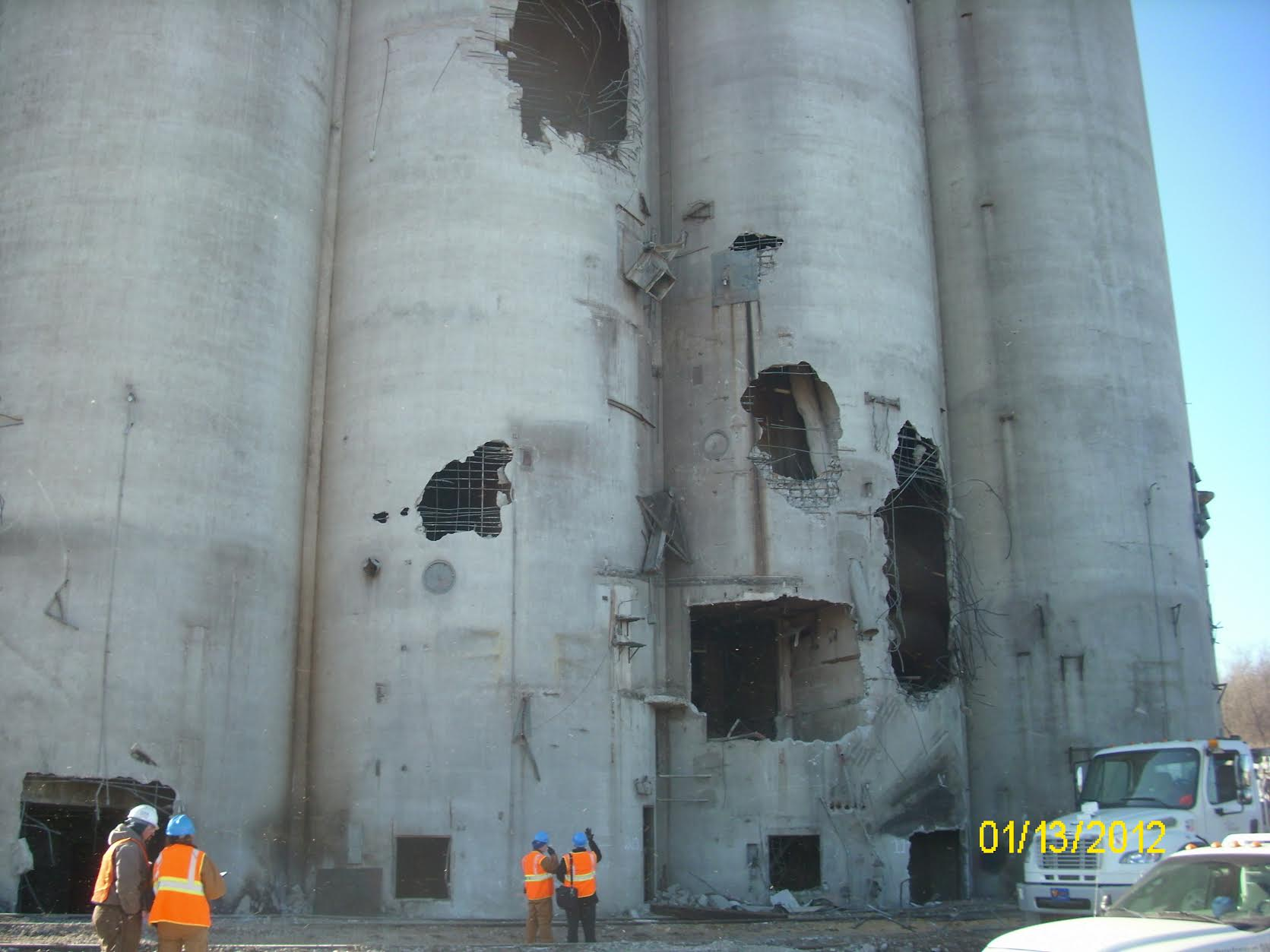 A corn elevator showing explosion holes
