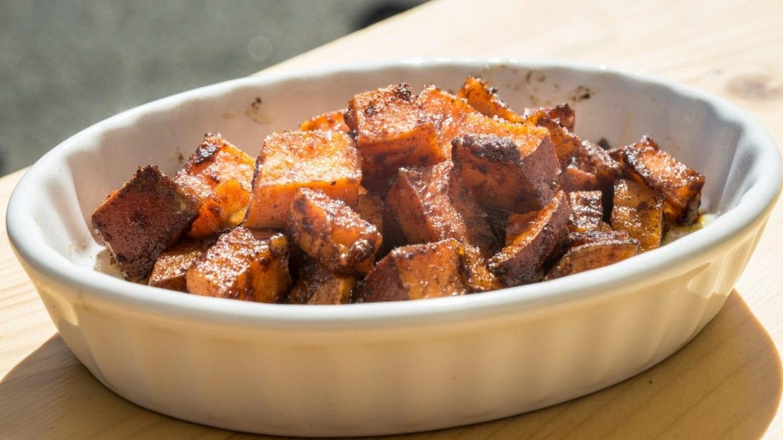 A plate of sweet potatoes.