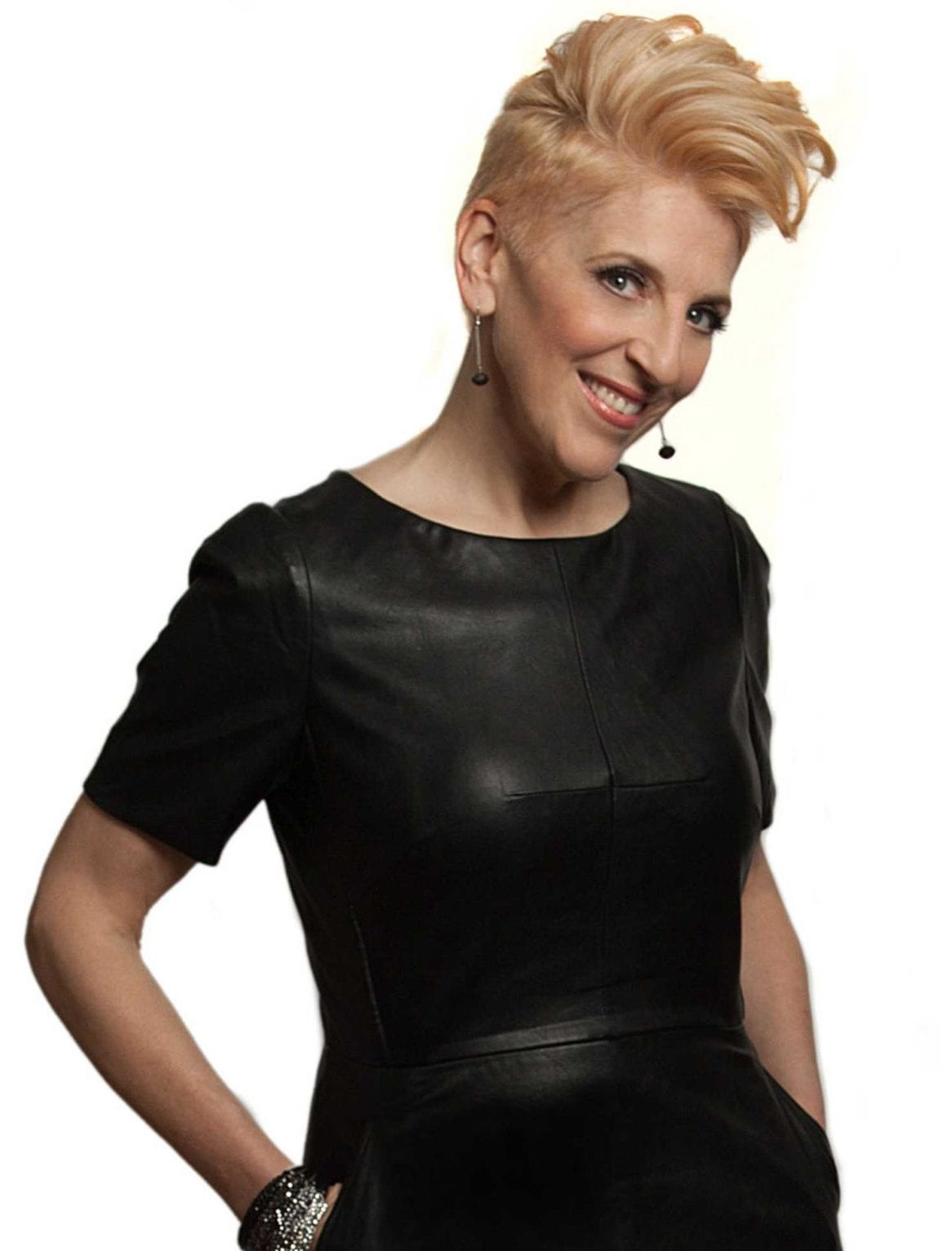 Lisa Lampanelli in a black dress.