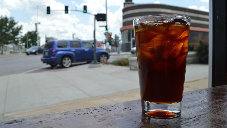 coffee in a window