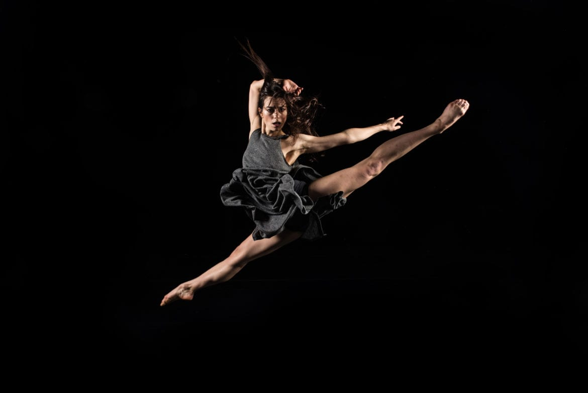 A woman dancing in the air.