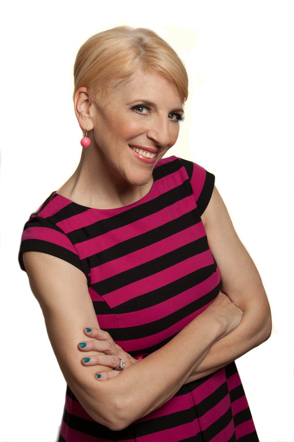 A woman in a pink striped shirt.