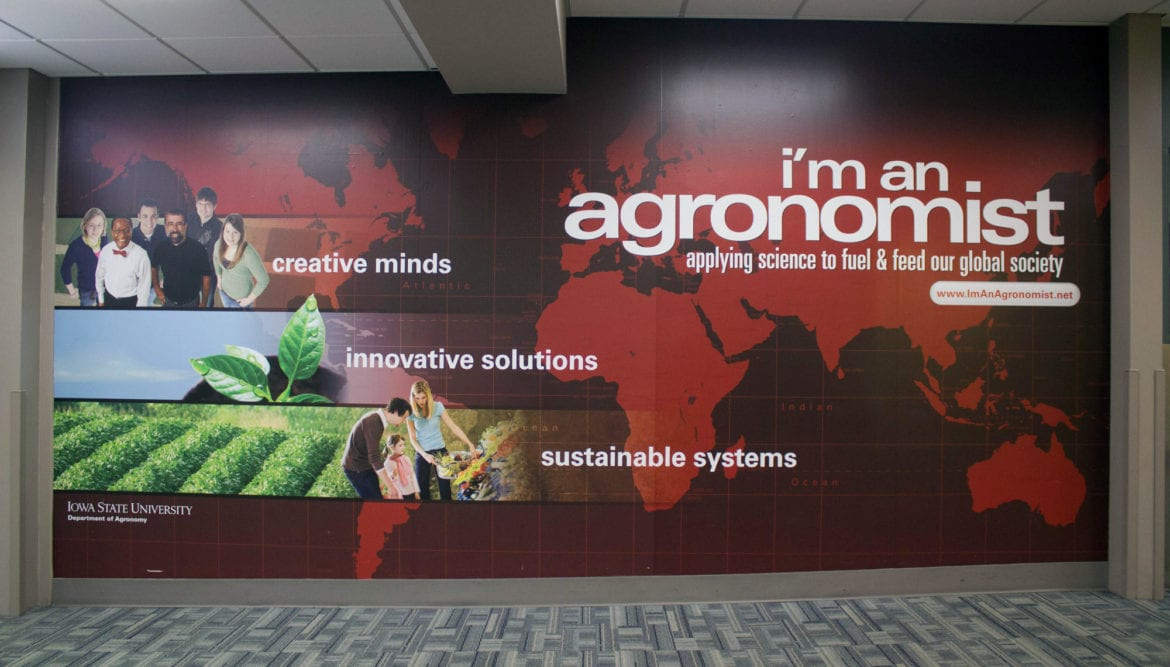 A wall in the Des Moines Airport that is focused on agriculture.