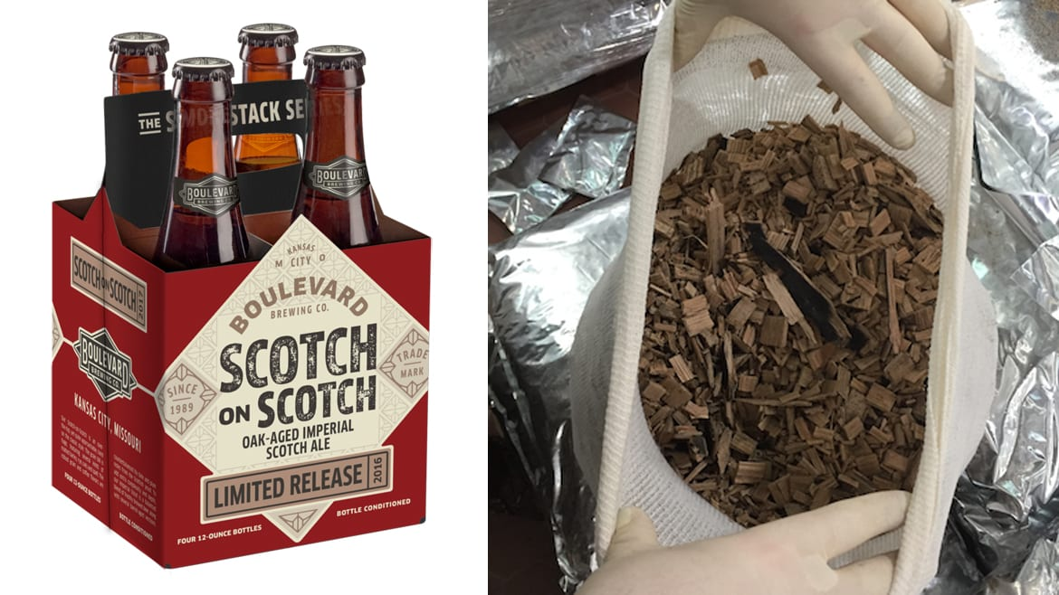 Scotch whisky barrel chips were suspended in the aging tank in porous bags.