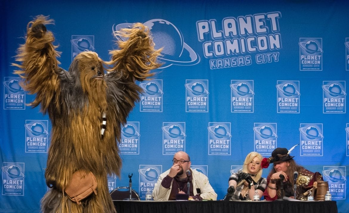 A Comicon fan dressed as Chewbacca.