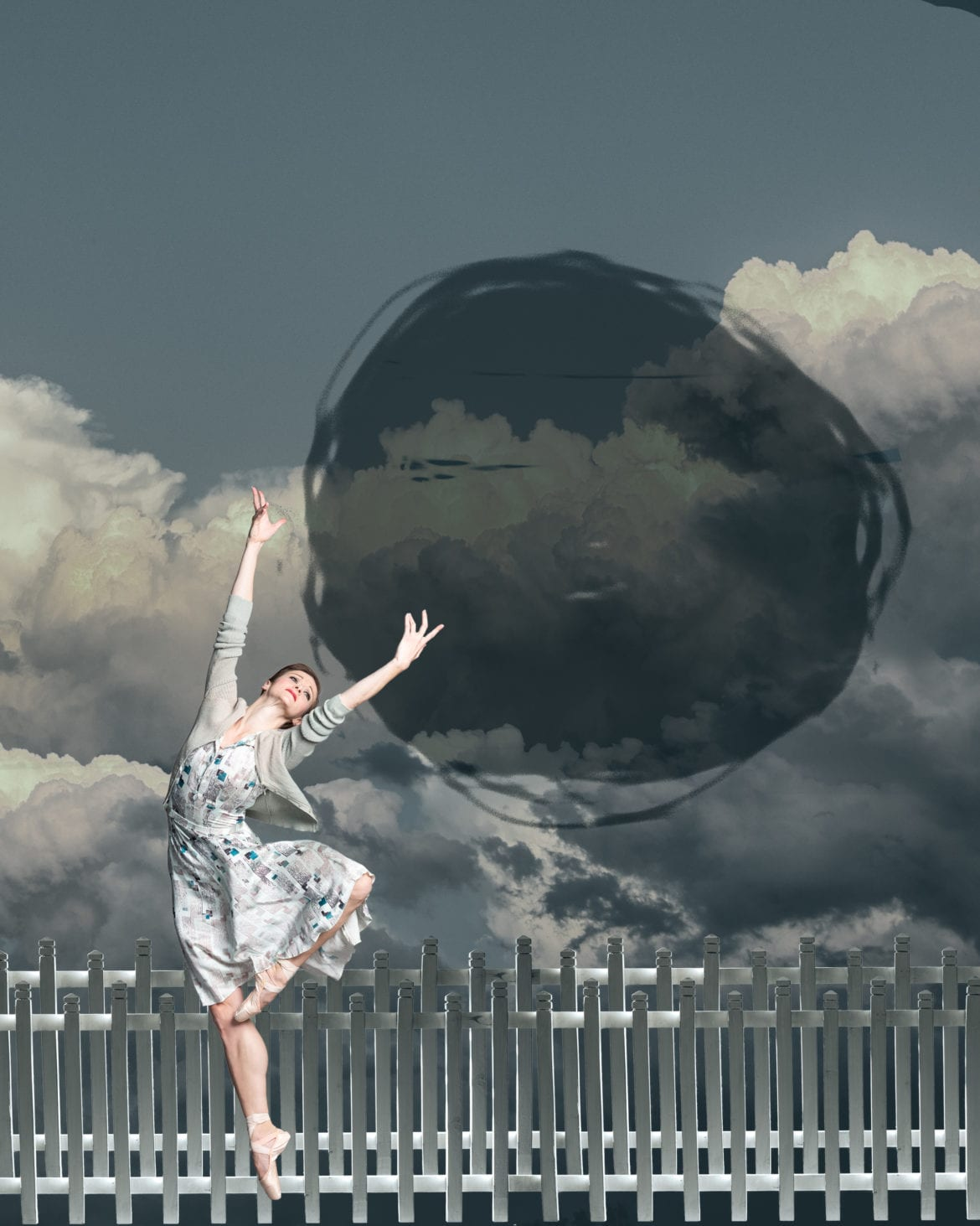 A woman dancing.