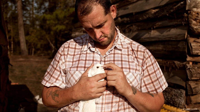 U.S. Army veteran Alex Sutton cradles a rock dove show pigeon