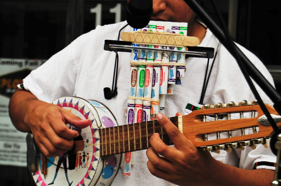 One of Espinoza's recycled instruments,