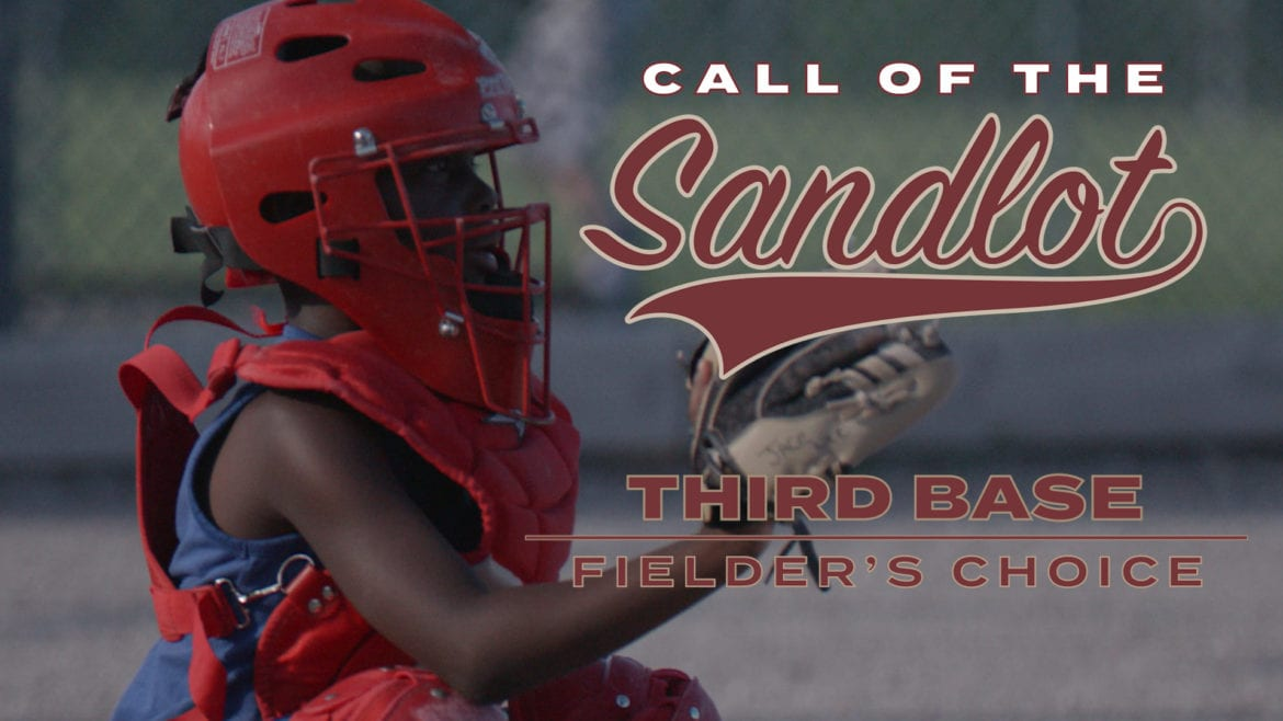 """A catcher warms up to catch the baseball for """"Call of the Sandlot."""""""