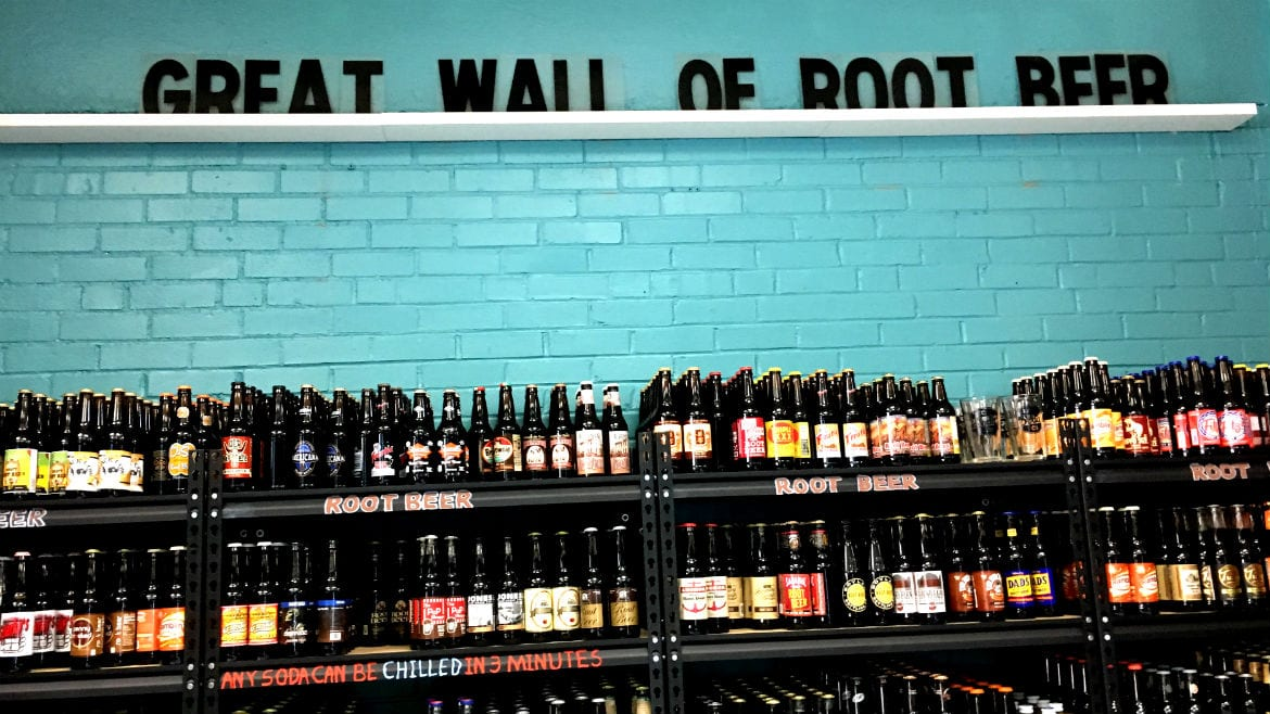 great wall of root beer inside KC Soda Co.
