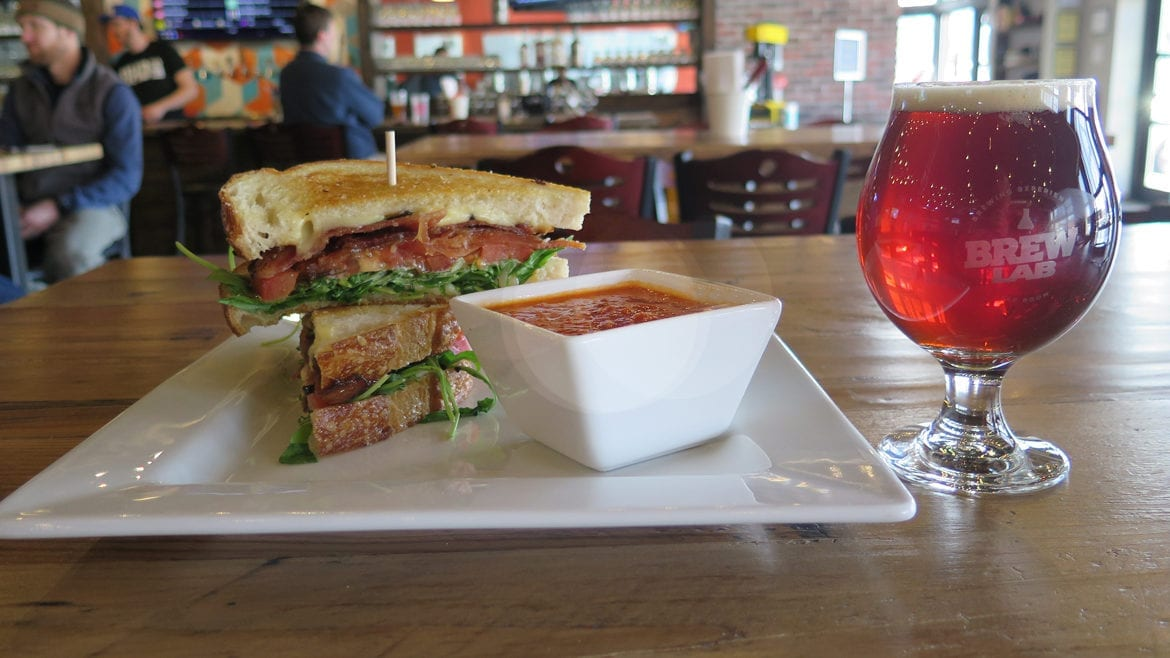 Brew Lab's BLT, tomato soup, and Rosemary Saison