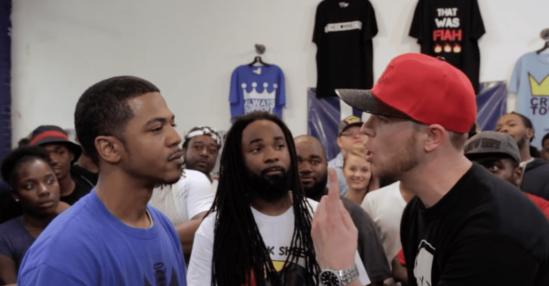 Jarvis Jones (center) watches a rap battle