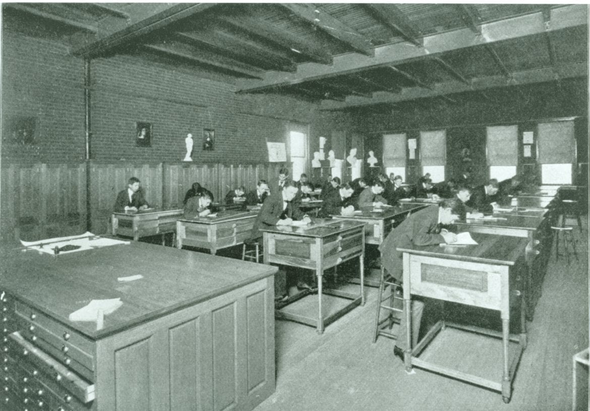 the manual high school drawing room in the late 19th century