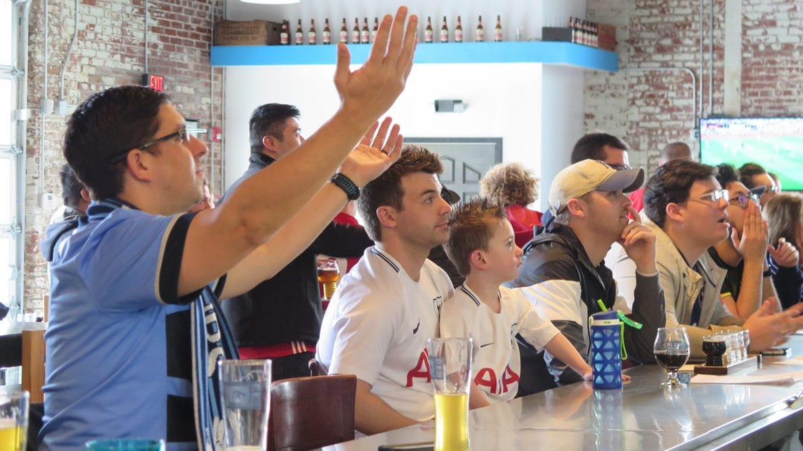 Soccer fans gather at Strange Days Brewing on weekend mornings