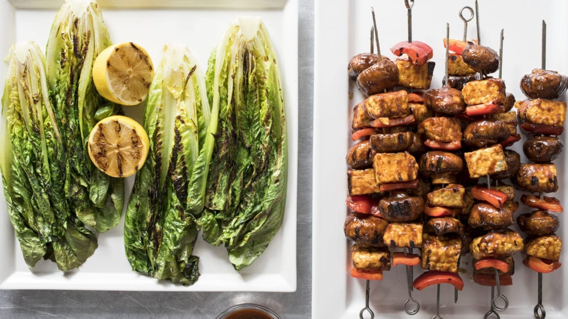 Barbecued tempeh skewers with grilled romaine lettuce
