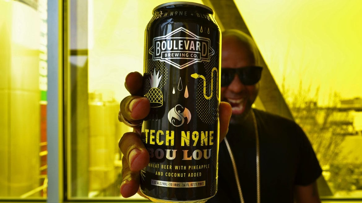 "Tech N9ne's song ""Caribou Lou"" inspired Bou Lou, Boulevard's Unfiltered Wheat Beer with added flavors of pineapple and coconut."