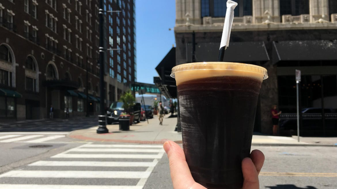 Kilo Charlie's nitro coffee from Parisi is infused with Tom's Town's Pendergast Royal Gold Bourbon.