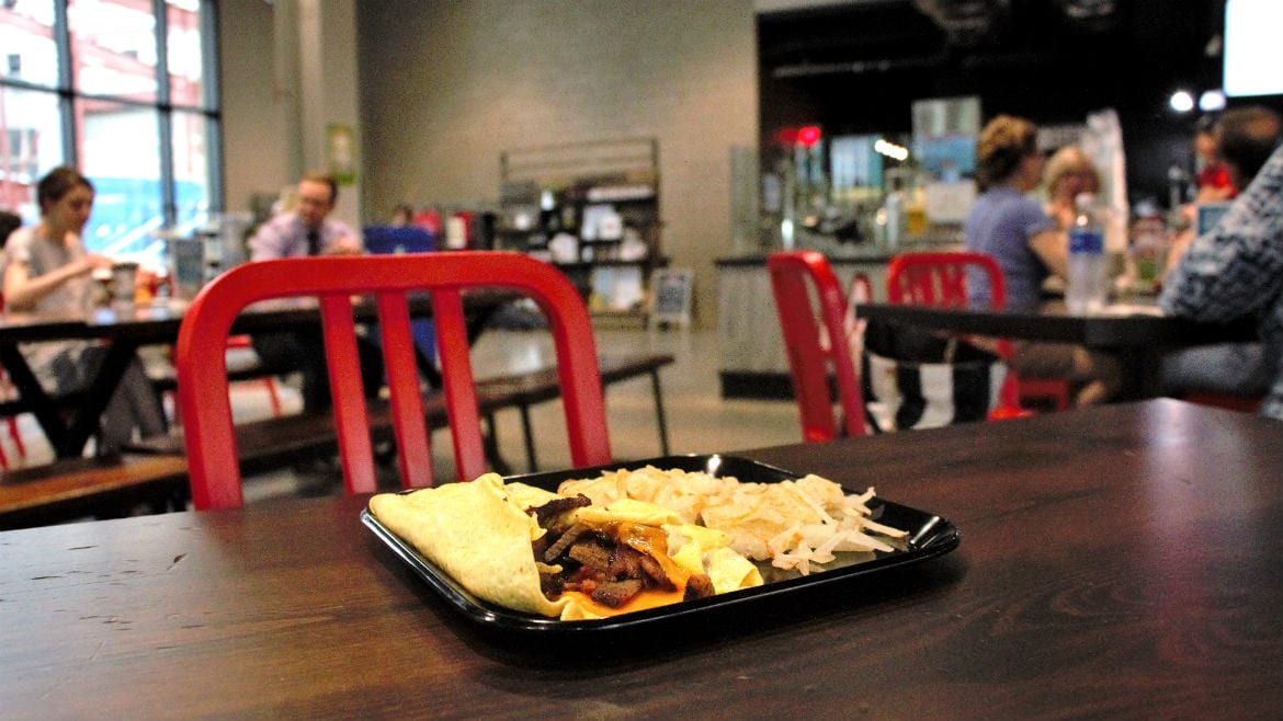 Mad Man's omelet with brisket is served with a side of hashbrowns at the Lenexa Public Market.