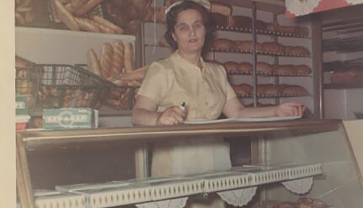 Lidia's mother Erminia working at Walken's Bakery.